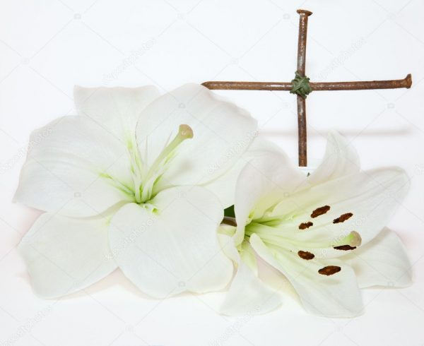 depositphotos 8686886 stock photo crucifix and easter white lily1