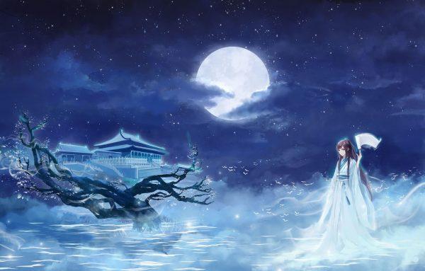 Обои девушка, звезды, облака, ночь, Луна, сакура, храм, кимоно, свиток картинки на рабочий стол, раздел сёдзё - скачать
